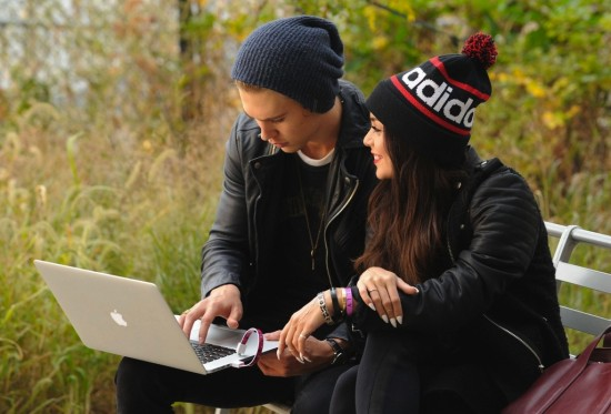 Vanessa Hudgens and Austin Butler rocking USB bracelets from the eBay Holiday Collective