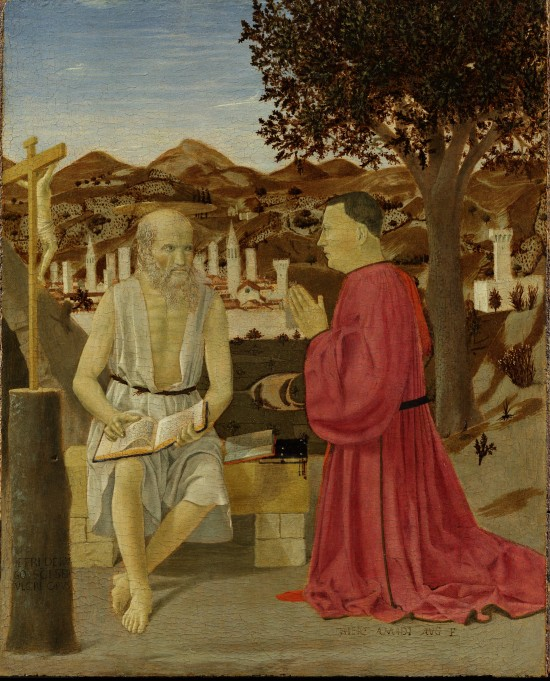 Piero della Francesca (Tuscany 1412? – 1492 Tuscany) Saint Jerome and a Supplicant Tempera and oil on wood 19 ½ x 16 ½ in. (49.4 x 42 cm); painted surface: 19 ½ x 15 ½ in. (49.4 x 39.5 cm) Gallerie dell'Accademia, Venice