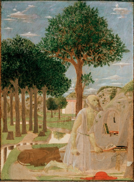 Piero della Francesca (Tuscany 1412? – 1492 Tuscany) Saint Jerome in the Wilderness Oil on wood (chestnut) 20 1/8 x 15 in. (51 x 38 cm) Preussischer Kulturbesitz, Gemäldegalerie, Berlin