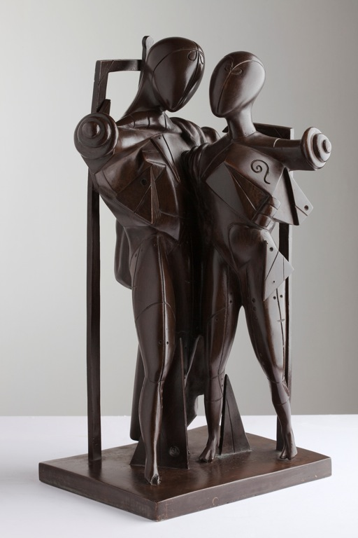 Giorgio de Chirico (1888-1978) Hector and Andromache, 1968 Patinated bronze, 48 x 19 x 27 cm Private collection.  Courtesy Galleria d'Arte Maggiore, Bologna (Italy)