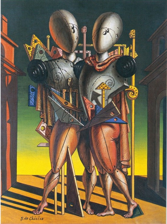 Giorgio de Chirico (1888-1978) Hector and Andromache, 1942  Oil on canvas, 80 x 60 cm  Private collection.  Courtesy Galleria d'Arte Maggiore, Bologna (Italy)