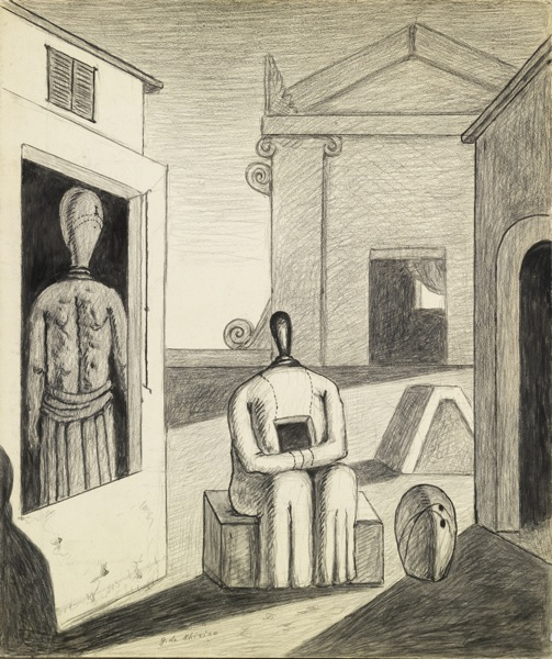 Giorgio de Chirico (1888-1978) The Disquieting Afternoon, 1972  Pencil and tempera on card, 59.5 x 50 cm Private collection.  Courtesy Galleria d'Arte Maggiore, Bologna (Italy)