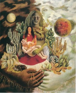 Frida Kahlo L'amoroso abbraccio dell'universo, la terra (Messico), io, Diego e il signor Xolotl, 1949 Olio su tavola, cm 70 x 60,5 The Jacques and Natasha Gelman Collection of 20th Century Mexican Art and The Vergel Foundation, Cuernavaca © Banco de México Diego Rivera & Frida Kahlo Museums Trust, México D.F. by SIAE 2014