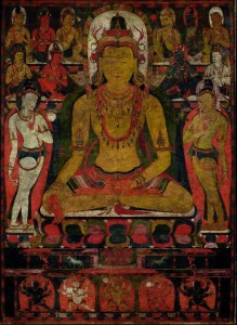 Ratnasambhava, the Buddha of the Southern Pure Land Tibet, late 11th Century Mineral and organic pigments on cloth Image: 30 3/4 × 22 1/2 in. (78.1 × 57.2 cm) Framed: 38 1/2 × 30 in. (97.8 × 76.2 cm) Lent by Michael J. and Beata McCormick Collection Photo: courtesy of The Metropolitan Museum of Art