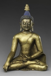Seated Buddha Reaching Enlightenment Central Tibet, 11th–12th century Brass with colored pigments H. 15 1/2 in. (39.4 cm); W. 10 7/16 in. (26.5 cm); D. 8 5/8 in. (21.9 cm) Purchase, Lila Acheson Wallace, Oscar L. Tang, Anthony W. and Lulu C. Wang and Annette de la Renta Gifts, 2012 Photo: courtesy of The Metropolitan Museum of Art