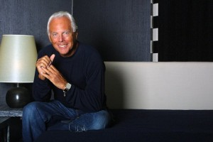 Publicity photo of Italian fashion designer Giorgio Armani. Armani arrived Hong Kong on 18 April 2004 for a three-day visit and to hold a fashion show of his world-renowned fashion brand on Tuesday.