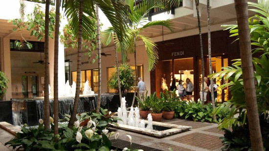 Bal Harbour, interior tropical fountains, luxury retail