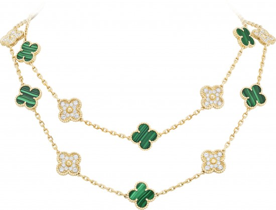 VCARO7GP00_Vintage Alhambra 20-motif long necklace_YG_Malachite_Dia-01B.tif