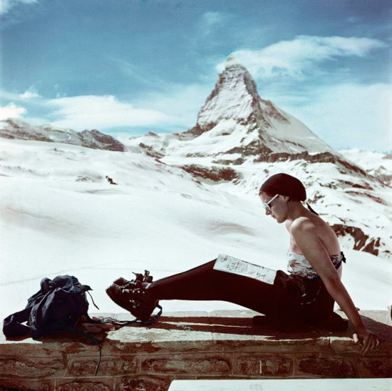 Robert Capa, Skier sunbathing in front of the Matterhorn, Zermatt, Switzerland, 1950. © Robert Capa © International Center of Photography/Magnum Photos