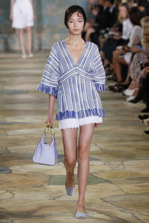 Models at the Tory Burch catwalk