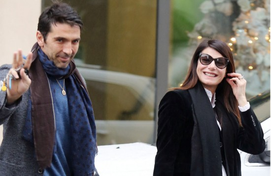Gigi Buffon, Ilaria D Amico and baby Leopoldo Mattia seen leaving the hospital