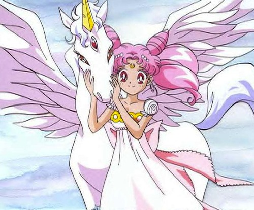 Helios-Pegasus e Chibiusa in un frame della serie tv Sailor Moon