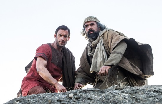 Clavius (Joseph Fiennes) and Peter (Stewart Scudamore) spy the Roman soldiers who are searching for them and the other apostles