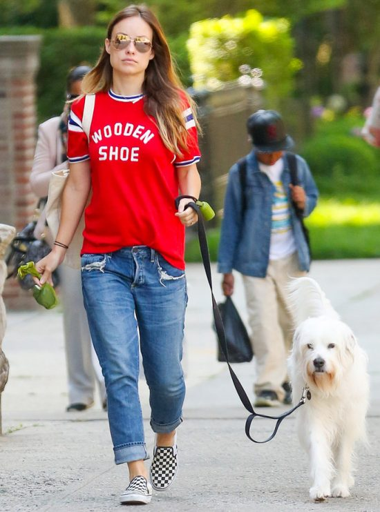 Olivia Wilde fotografata durante una passeggiata per le vie di New York con il cane Paco. L'attrice, attualmente in attesa del secondo figlio, ha sfoggiato un look decisamente casual, composto da un paio di jeans modello boyfriend, una T-shirt rossa e le iconiche slip-on di Vans con pattern check black and white.