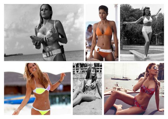 "In alto, da sinistra: Ursula Andress in ""Dr.No"" (1952), Halle Berry in ""Die Another Day"" (2002), Rita Hayworth ritratta in bikini nella sua casa di Beverly Hills (1945). In basso, da sinistra: Bar Rafaeli fotografata durante un viaggio in Israele (2013), Brigitte Bardot in ""Manina, the Girl in the Bikini"" (1952), Veronica Ferraro immortalata per il progetto in collaborazione con Triumph ""The Fashion Fruit"" per la collezione mare SS 2016"